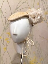 Vintage 1950s White Silk Organdy Hat and Gloves by Mr. John