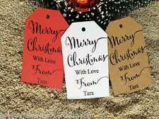10 Kraft White Gift Tags Merry Christmas Favour Personalised With Love Names