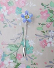 Tiny FORGET-ME-NOT PIN Floral Friendship Brooch Masonic Lapel Pin HAND PAINTED