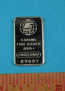 ENGELHARD - 5 Grams - Fine Silver .999  - Rare Bar - Low Mintage