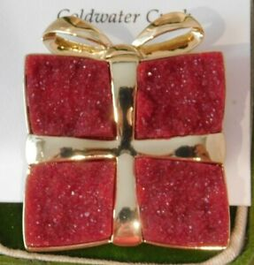Coldwater Creek Christmas Gift Red Druzy Brooch Pin  7L 61