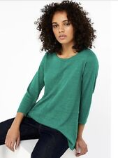 Monsoon Cindy Dipped Hem Linen Blend Jumper Jade Green Size M RRP £39