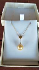 18ct yellow gold necklace with golden south sea pearl
