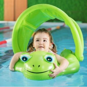 Baby Swim Float With Canopy Upgraded Safe Air Free Swimming Pool Accessories So