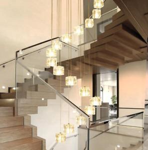 Stairs droplight Crystal Glass Ball Lamp Square Diamond Modern Pendant Lighting