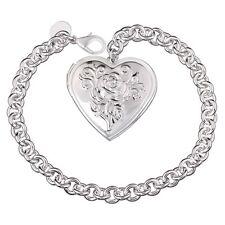 "Unique & Elegant Pure 925 Sterling Silver Heart Shape Locket 8"" Bracelet #006"