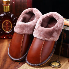 Men Winter Warm Fuzzy Top Cow Leather House Slippers Fleece Lined Home Shoes