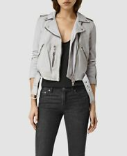 all saints barret balfern biker leather grey blue uk 6 us 2 eu 34