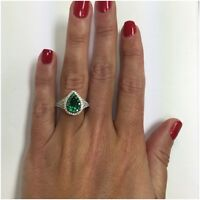 Platinum Sterling Silver Green & White Sapphire Pear Shape Double Halo Ring