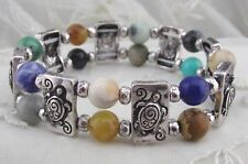 Silver Multi Color Beads Turtle Stretch Bracelet Fashion Jewelry NEW