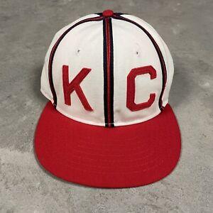 90s VTG KANSAS CITY MONARCHS Roman Pro Negro League Fitted Hat 6 7/8 Made USA