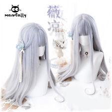 Princess Lolita Purple Gray Gradient Full Wig Cosplay Long Curly Hair Daily