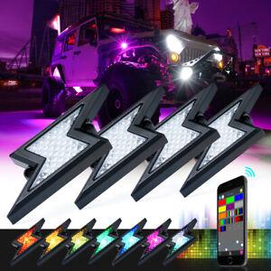 4 Pods RGB LED Rock Lights APP Control Underglow Neon Light Kit Off-Road ATV UTV