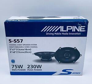 """Alpine S-S57 S-Series 5""""x7"""" 2-way car speakers -New -Pair (S-S57)"""