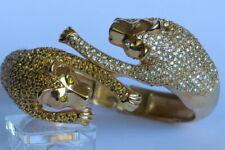 Two Pouncing Leopards Hinged Cuff Bracelet Goldtone Metal Diamante set
