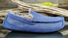 UGG ASCOT Mens Sz 10 US Blue Leather Suede Lined Slip On Loafers Comfort Shoes