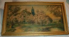 1927 BLOSSOM TIME ANTIQUE COTTAGE FRAMED PRINT AMP INC CHICAGO