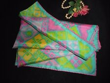 USA Silk Scarf Pink Green Yellow Hand Rolled Hem