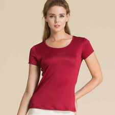 Damen 100% Seide Gestrick Kurzarm T Shirts Freizeit Tops Blusen Größe 36-42