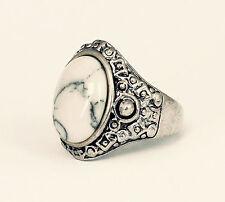Tibetan White Stone Silver Ring-Boho Jewellery-Vintage Bohemian Jewelry-Hippy
