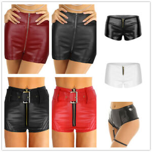 Women Wet Look Leather Booty Shorts Bottoms Zipper Hot Pants Rave Dance Costume