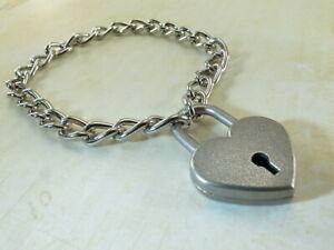 Heart Padlock Lock Pendant Charm 23cm Medium Chain Bracelet