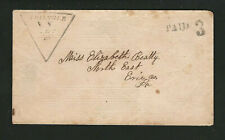 Triangle NY 1850s Stampless Cover, Broome Co., Handstamp In Shape Of A Triangle!