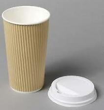 More details for 4/8/12/16oz insulated ripple disposable paper coffee brown cups / white lids