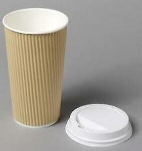 4/8/12/16oz Insulated Ripple Disposable Paper Coffee Brown Cups / White Lids