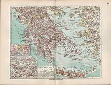 CARTINA MAP 1912: Grecia Greece. Atene-Pireo conciarie-Attica Peloponneso