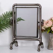 Rustic Silver Mirror Cheval Swing Freestanding Tabletop Vanity Industrial Chic