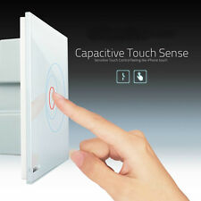 NEW Smart Touch Wall Light Switch Crystal Glass Panel LED Backlight 1gang1way