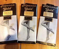 Vintage 15 Denier Stockings  Black With White Spots. X3 Pairs. Alpanna Gold