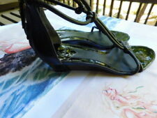 BRIAN ATWOOD jet BLACK LEATHER T STRAPPY sandal bootie WEDGE HEELS shoes 9.5 10