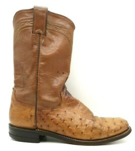 Justin Brown Smooth Ostrich Cowboy Western Roper Boots Shoes Men's 6.5 B