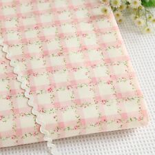 1 Yard 100% Cotton Shabby Chic Pink Floral Flower Rose Check Fabric