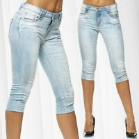 Bermuda da donne Capri Jeans Shorts 3/4 Pantaloni corti Pantaloncini Usato