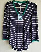 Market & Spruce Stitch Fix Womens Blue Striped V-Neck Knit Top 3/4 Sleeve Size M
