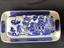 Vintage Retro Churchill Blue Willow Pattern Ceramic Pottery Butter Dish With Lid
