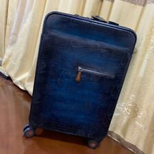 Handmade Berluti Style Patina Genuine Cow Leather 20'' Trolley Carry On Luggage