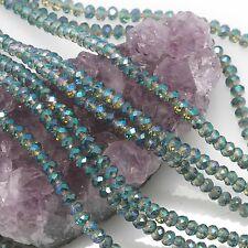 100 pcs 4mm Chinese Crystal Glass Beads Faceted Rondelle Lemon Quartz Green AB