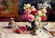 Oil painting licinio barzanti - roses, a vase and some books on a table canvas