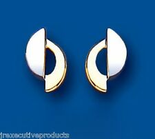 9ct Two Colour Gold Stud Earrings 10 x 6mm (6788)