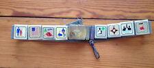 "Vintage Boy Scout Cub Belt with 8 Merit Badge Slides Brass Buckle 28"" Long"