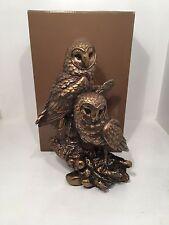 Bronzed Twin Owls Bronze Reflections by Leonardo Figurine *BRAND NEW BOXED*