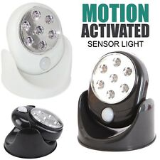 Motion Activated Cordless Sensor 7 LED Light Indoor/Outdoor 360° Rotating Garden