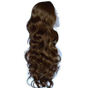 Ladies 3/4 WIG Half Fall Clip In Hair Piece WAVY Light Chocolate Brown #12/18
