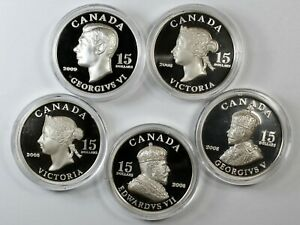 Royal Canadian Mint / Uncirculated - Set of 5 $15 Proof Silver Coins / w Big Box