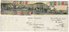 RUSSIAN POST IN LEVANT 1911 - PANORAMA POSTCARD SALONIQUE MULTINATIONAL FRANKING