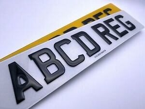 3D GEL NUMBER PLATES RAISED DOMED GLOSS BLACK PAIR OF ROAD LEGAL FRONT & REAR